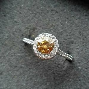 Jewelry - Champagne Halo Engagement Ring 925  Sz 7.5